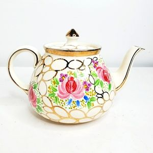Vintage china floral and gold trim teapot